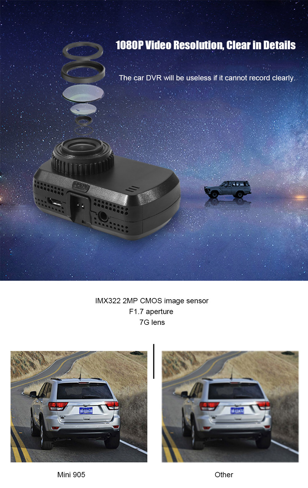 JUSKY IMX322 Mini 905 1.5 inch 1080P Car DVR 135 Degree FOV with GPS Positioning WiFi Function