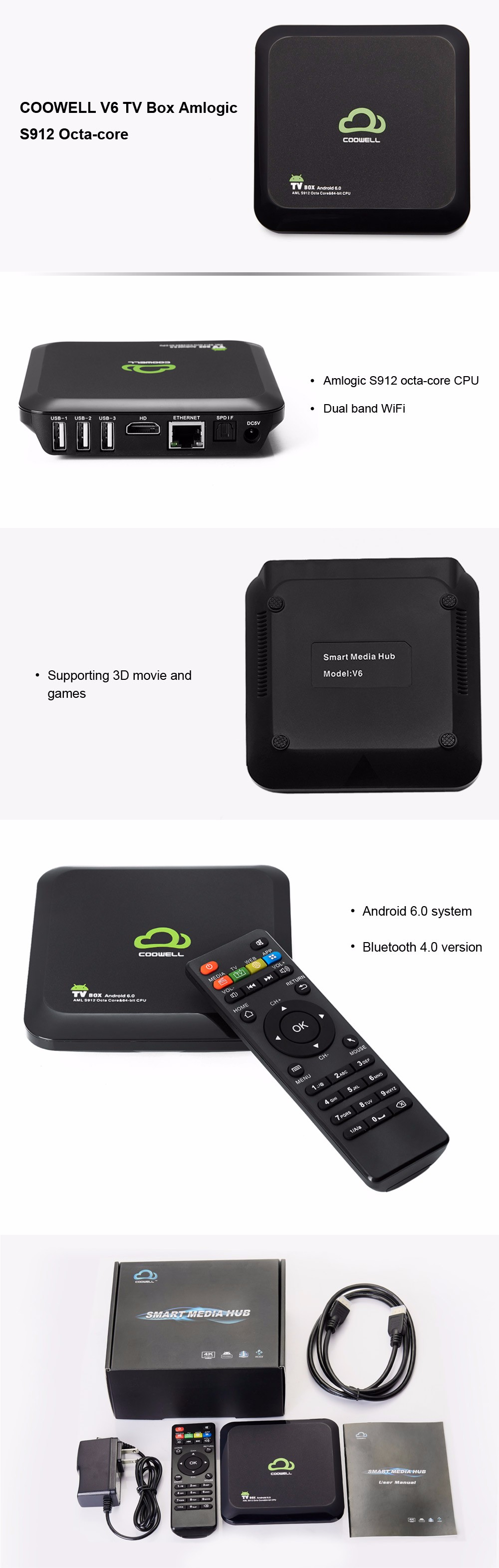 COOWELL V6 Android 6.0 TV Box with Amlogic S912 Octa-core CPU Supporting Bluetooth 4.0 Dual Band WiFi