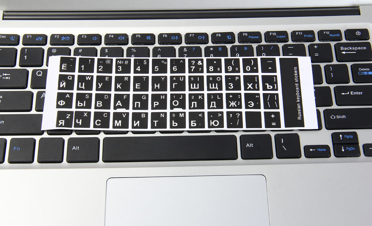 White Letters Arabic English Keyboard Sticker Decal Black for PC Laptop