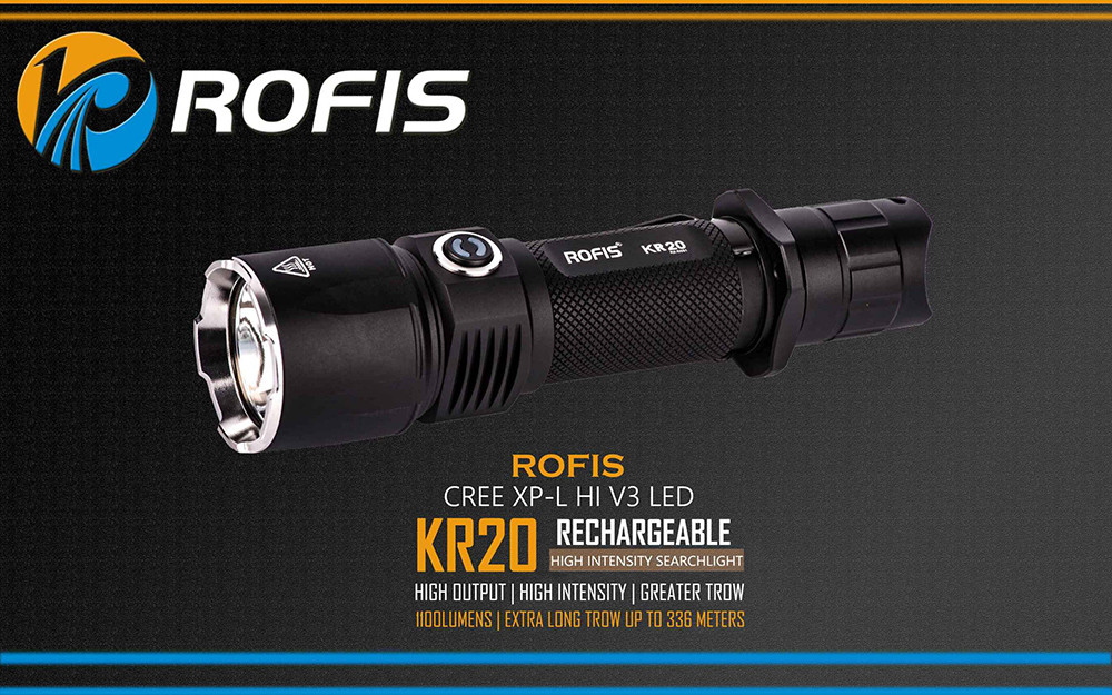 Rofis KR20 Cree XPL HI V3 1100Lm Rechargeable Tactical LED Flashlight