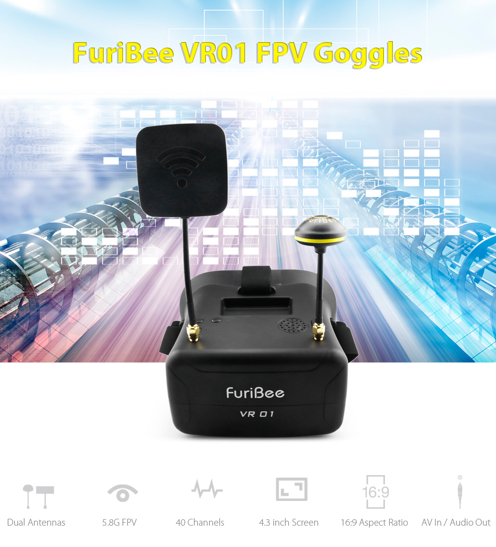 FuriBee VR01 FPV Goggles 5.8G 40CH Dual Antennas 4.3 inch 480 x 272px Display