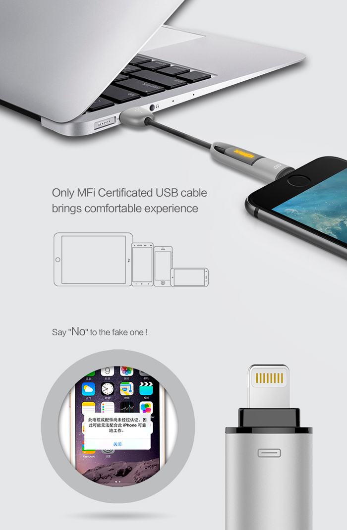 IDMIX DL02 MFi Certification 2-in-1 Micro USB 8 Pin Data Transfer Charging Cable with LED Light - 1m