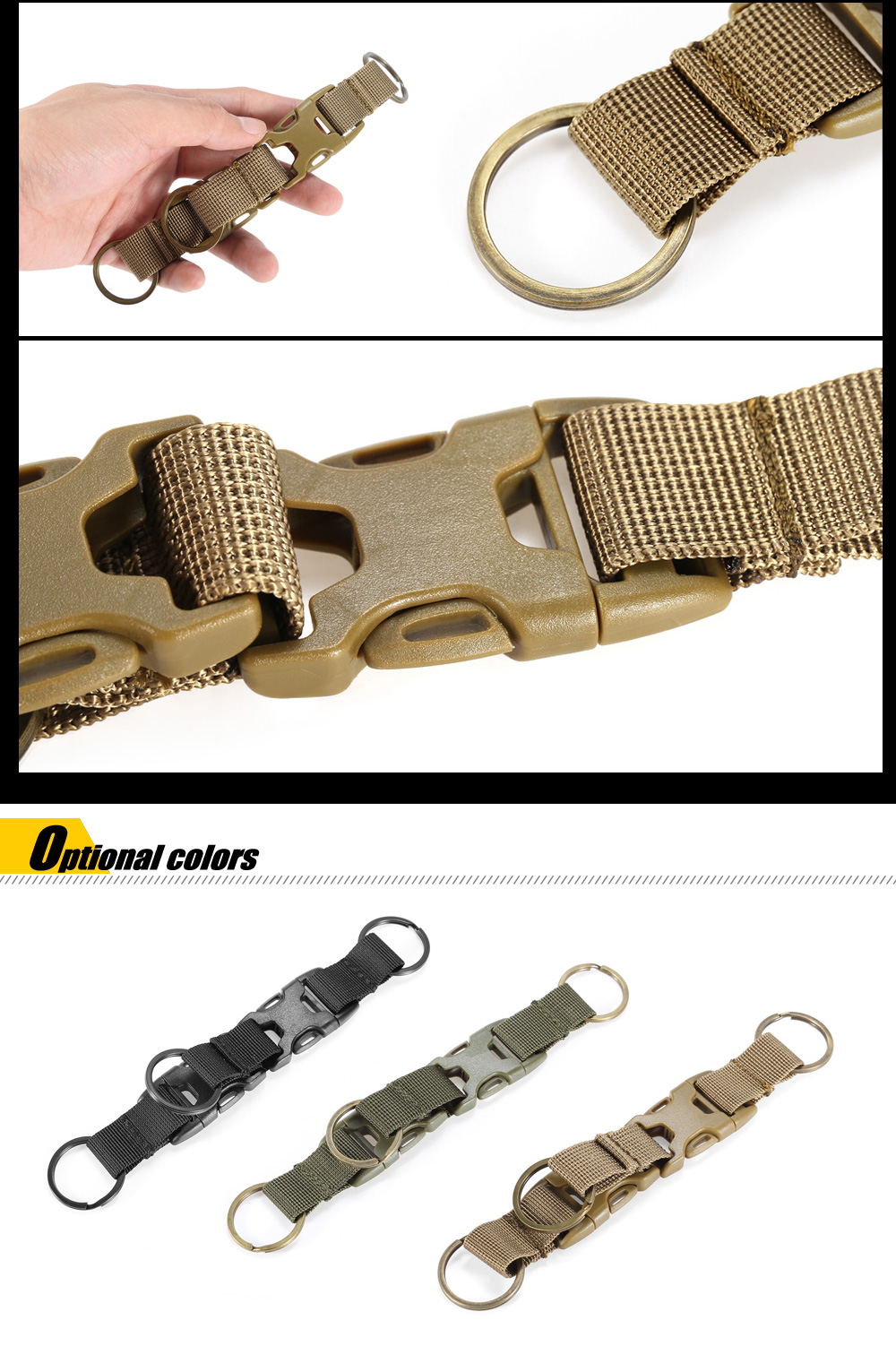 High-density Nylon Tactical Keychain with 3 Key Rings for MOLLE System