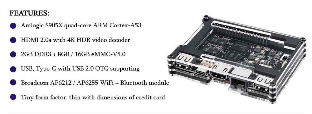 Khadas Vim An Open Source TV Box Quad-core Amlogic S905X WiFi Bluetooth 4.2 DIY Set-top Box