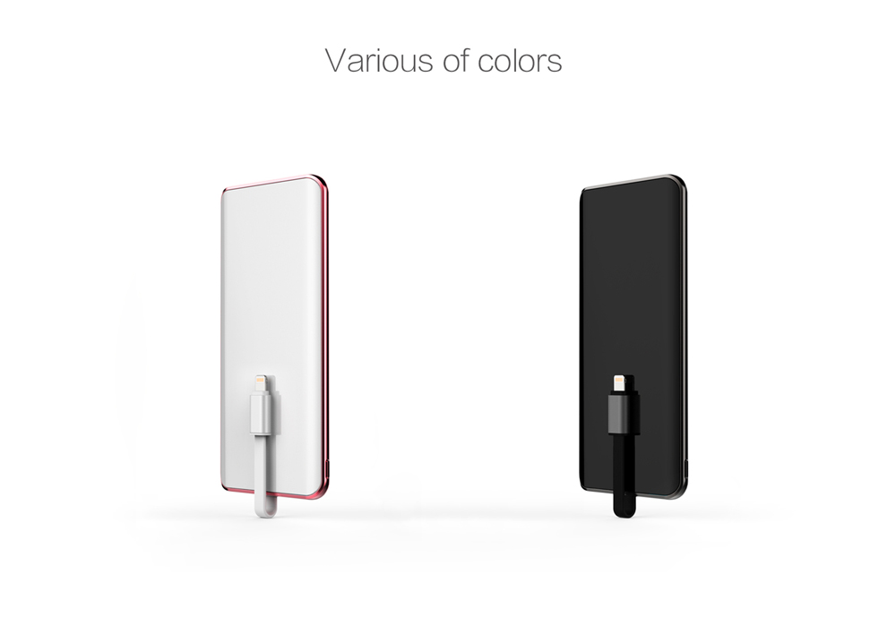 IDMIX Q5 MFi Certification 6000mAh Portable Power Bank Ultra-slim 2.4A Quick Charge Built-in 8 Pin Charging Cable