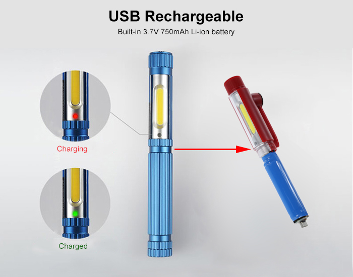 USB Rechargeable 160Lm COB LED Flashlight Work Light