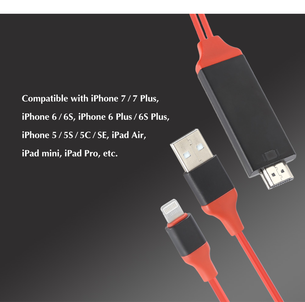 2m USB 2.0 8 Pin to HDMI Video Charging Cable Plug and Play