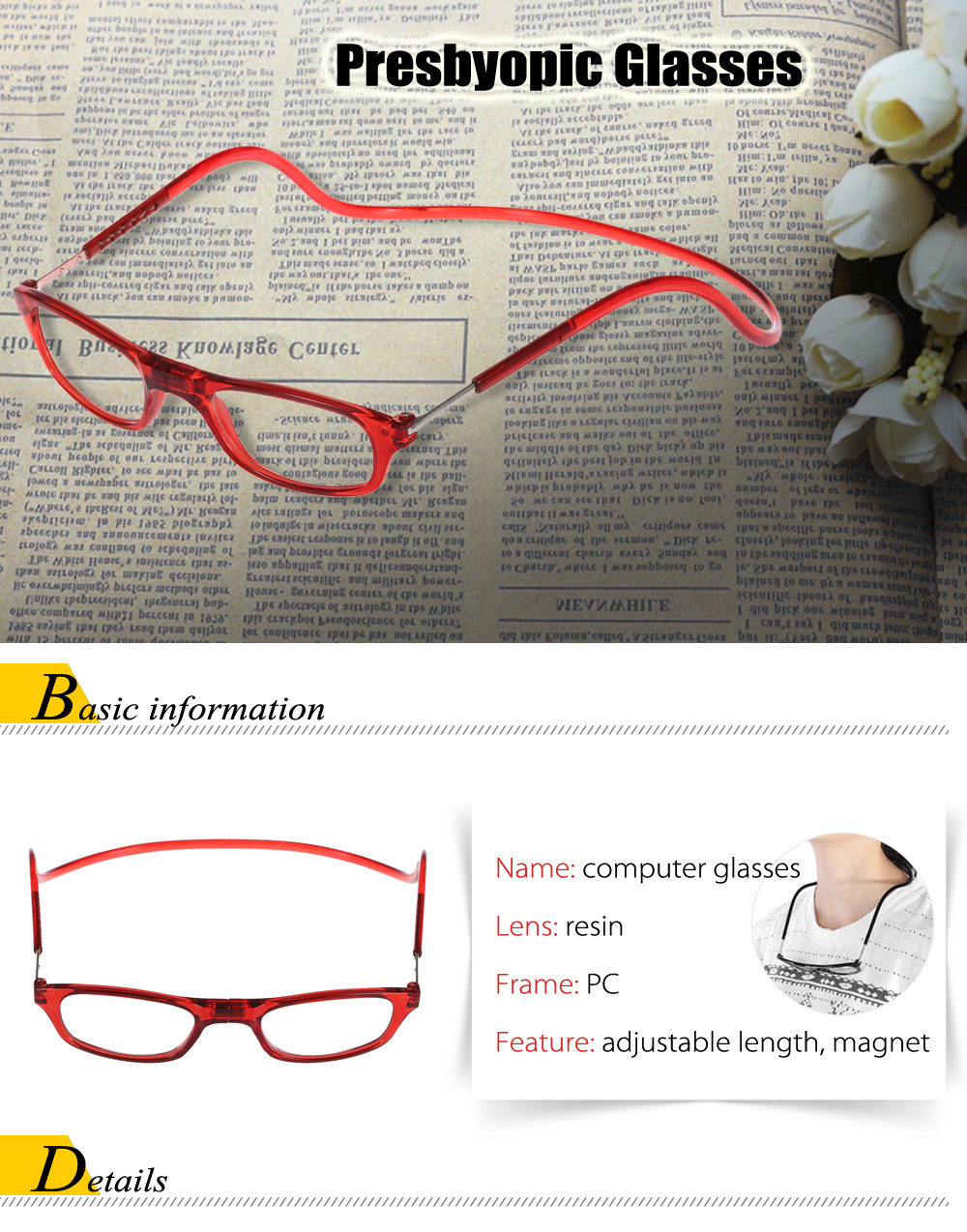 Neck-hanging Old People Presbyopic Glasses with 2.5 Diopter Lens / Magnet