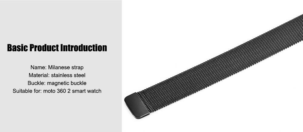 20MM Stainless Steel Net Milanese Band for moto 360 2 Smart Watch