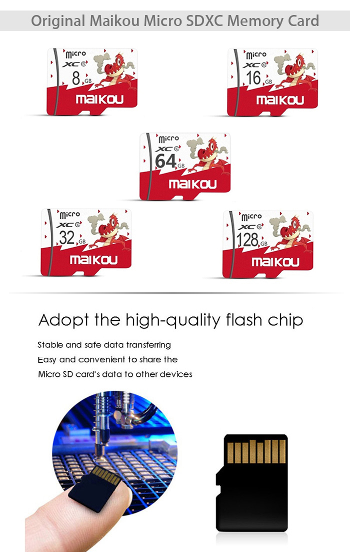 Maikou Class10 Micro SDXC Memory Card with Micro SD Card Adapter