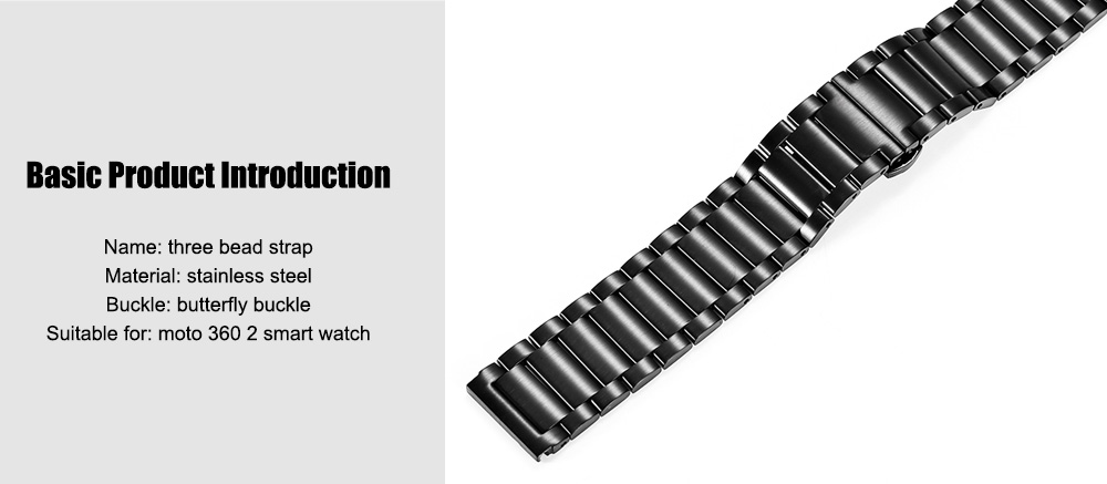20MM Stainless Steel Three Bead Band for moto 360 2 Smart Watch