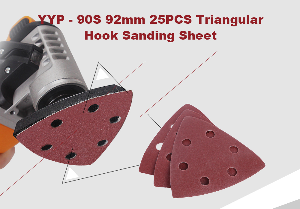 YYP - 90S 92mm 25PCS Triangular Hook Sanding Sheet Abrasive Paper