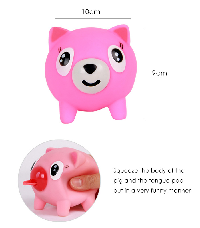 Screaming Props Popping Out Tongue Pig Model Party Bar Trick Toy