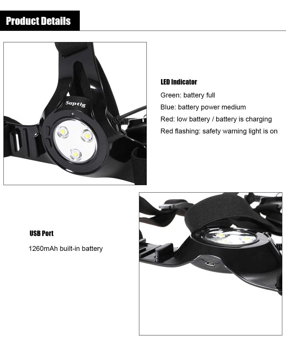 Suptig Sports Photography Running Light 300Lm LED Chest Belt for Action Camera