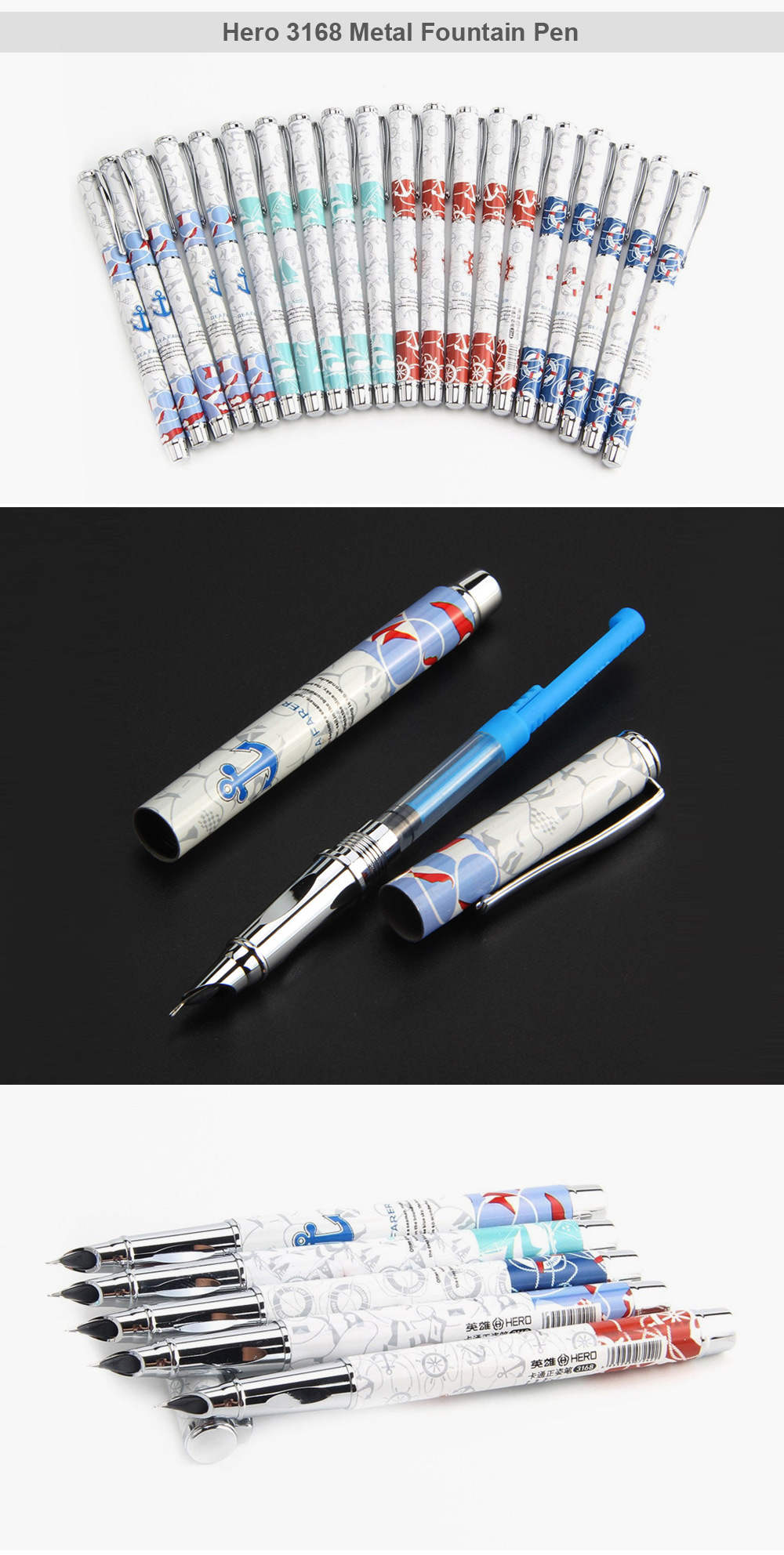 Hero 3168 20PCS Exquisite Fountain Pen Writing Stationery
