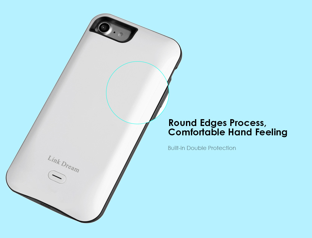 Link Dream 5200mAh Backup Power Bank Case Protective Cover for iPhone 7 with Phone Ring Holder Bracket