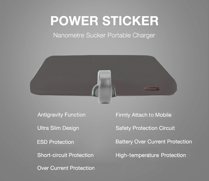 INNOANTS 4000mAh Nano Sticker Portable Power Bank Ultra-slim Matte Surface Built-in 8 Pin Charging Cable