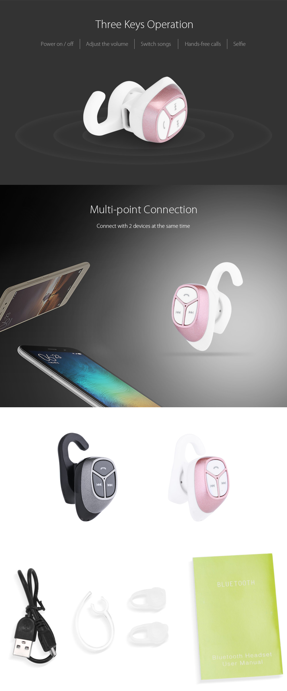 Super Mini Universal Bluetooth V4.0 Earhook Wireless Headset / High Fidelity Stereo with Mic