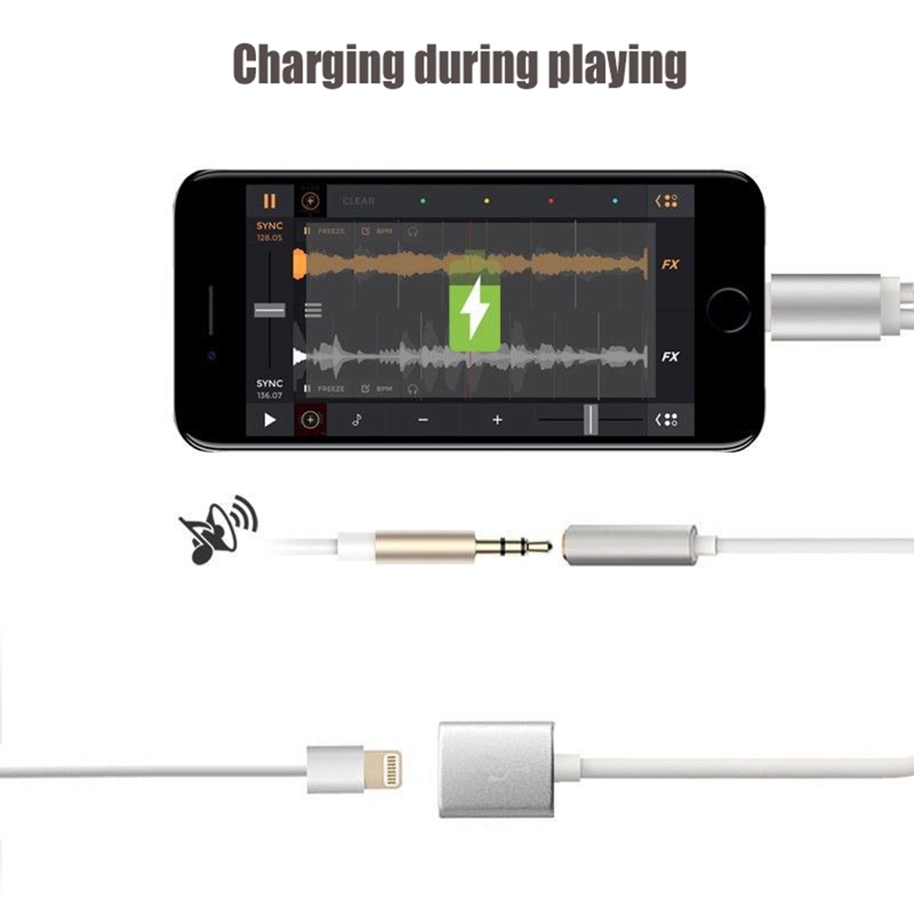 3.5mm Audio Interface 8 Pin Charging Adapter Combo Cable Line for iPhone 7 / 7 Plus