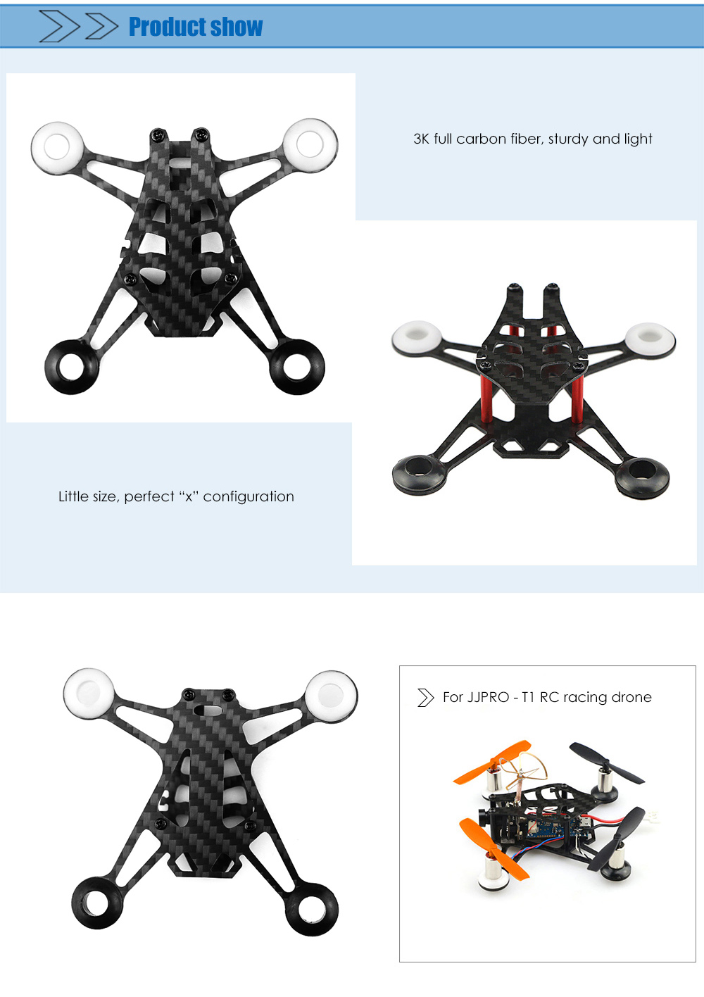 Original JJRC 95mm Carbon Fiber Frame for JJPRO - T1 RC Racing Drone