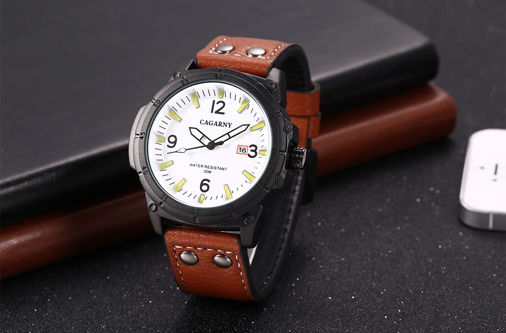 CAGARNY 6853 Male Quartz Watch Luminous Calendar Wristwatch for Men