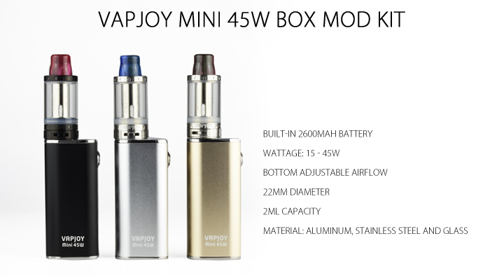Original VAPJOY Mini 45W Box Mod Kit with Built-in 2600mAh Battery / 0.4 ohm / 22mm Diameter Clearomizer for E Cigarette