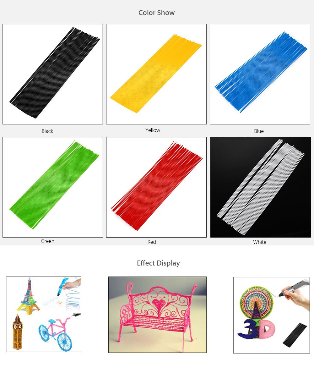 1.75mm Straight ABS Filament Printing Supplies for 3D Printer Pen