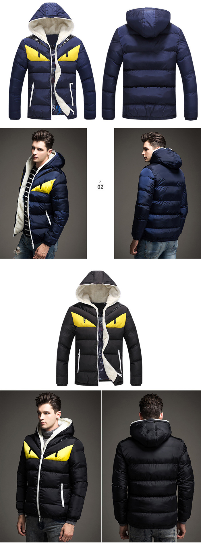 Men Color Block Angry Eye Hooded Quilted Jacket Warm Winter Coat