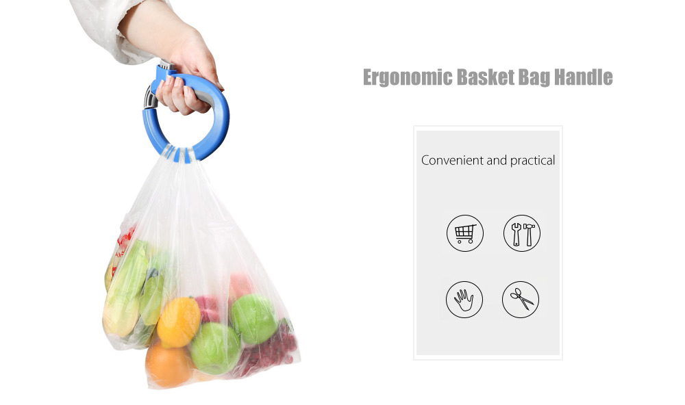 2PCS Ergonomic Portable Basket Bag Handle Holder with Button