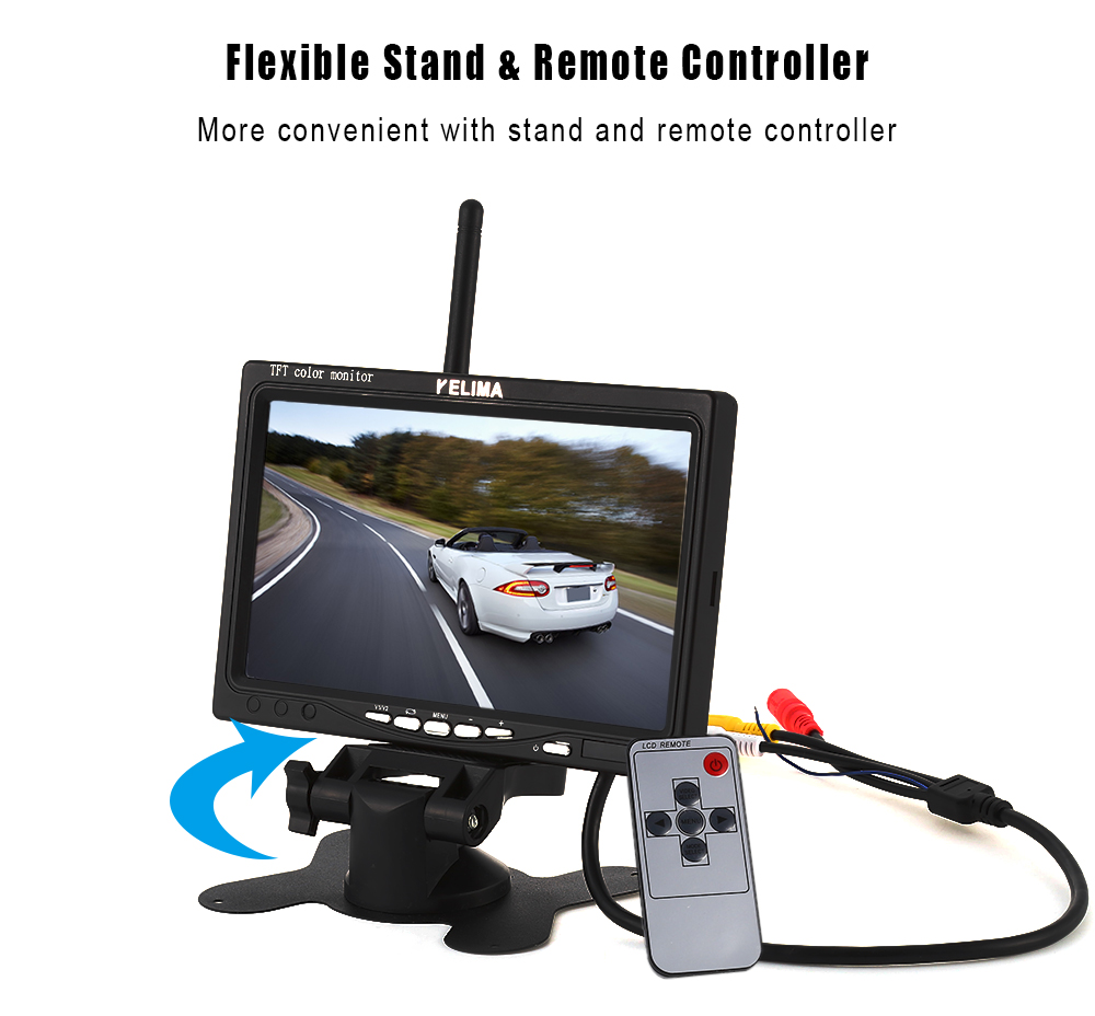 KELIMA 7 inch Car Display 18 LED Monitor Camera Support Rearview Camera Input