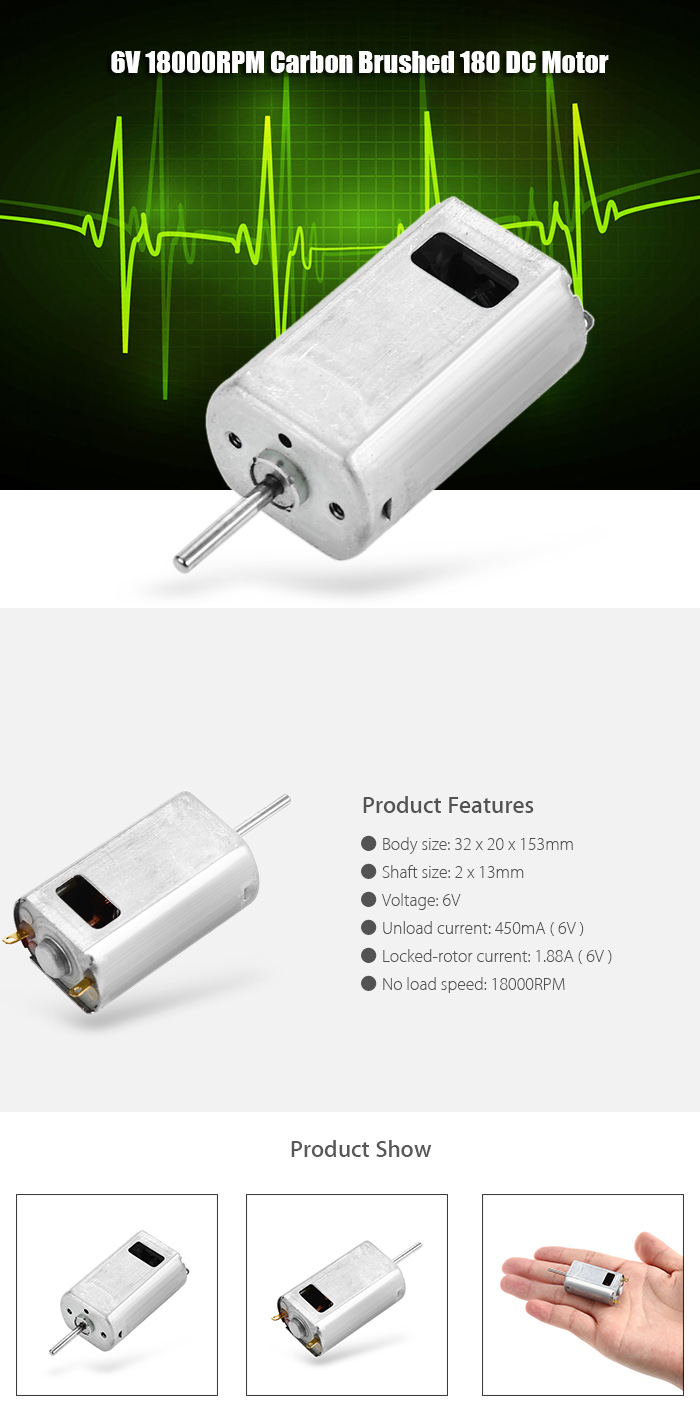Carbon Brushed 180 DC Motor 6V 18000RPM for Aircraft Model Airplane