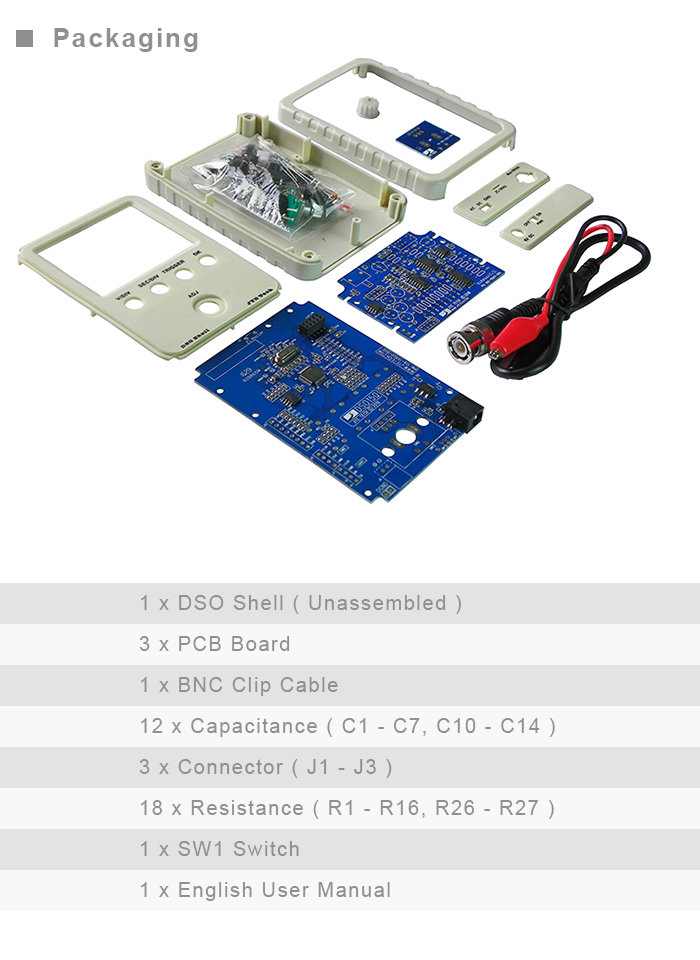 DSO Shell DSO15001K Oscilloscope Kit for Electronic DIY Projects