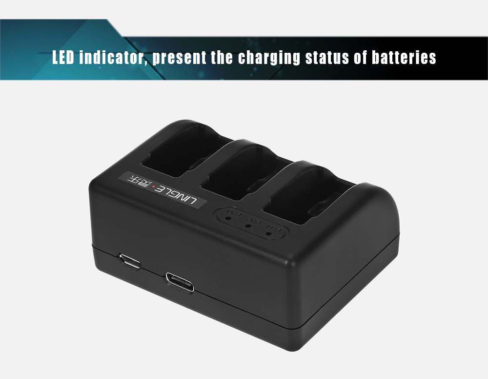 Original LINGLE AT639 Triple Battery Charging Dock for GoPro HERO5 Action Camera