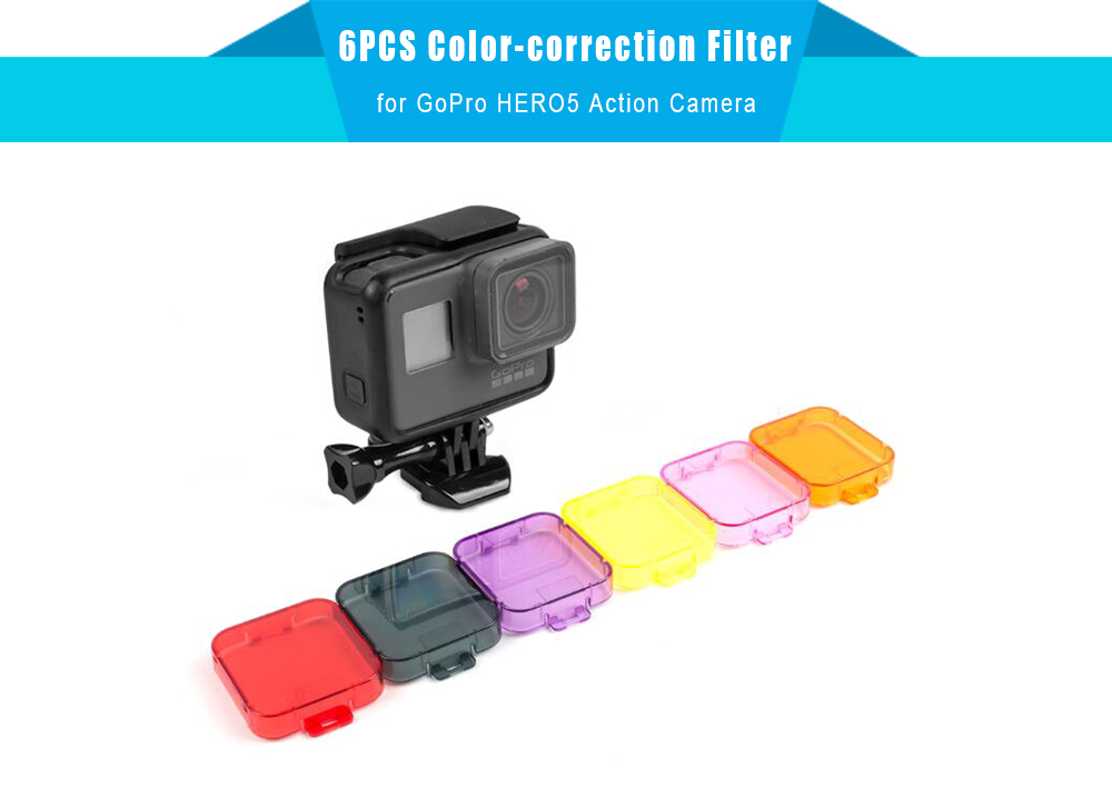 6PCS Color-correction Filter Lens Protector for GoPro HERO5 Action Camera
