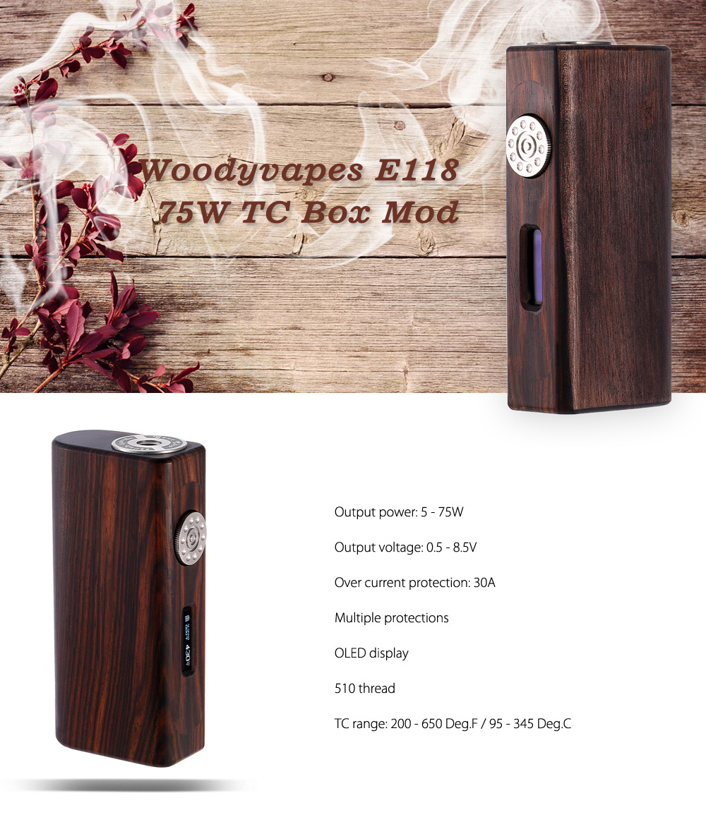 Original Woody Vapes E118 75W TC Box Mod with 200 - 650F / 95 - 345C / Multiple Protections / One Button Design for E Cigarette