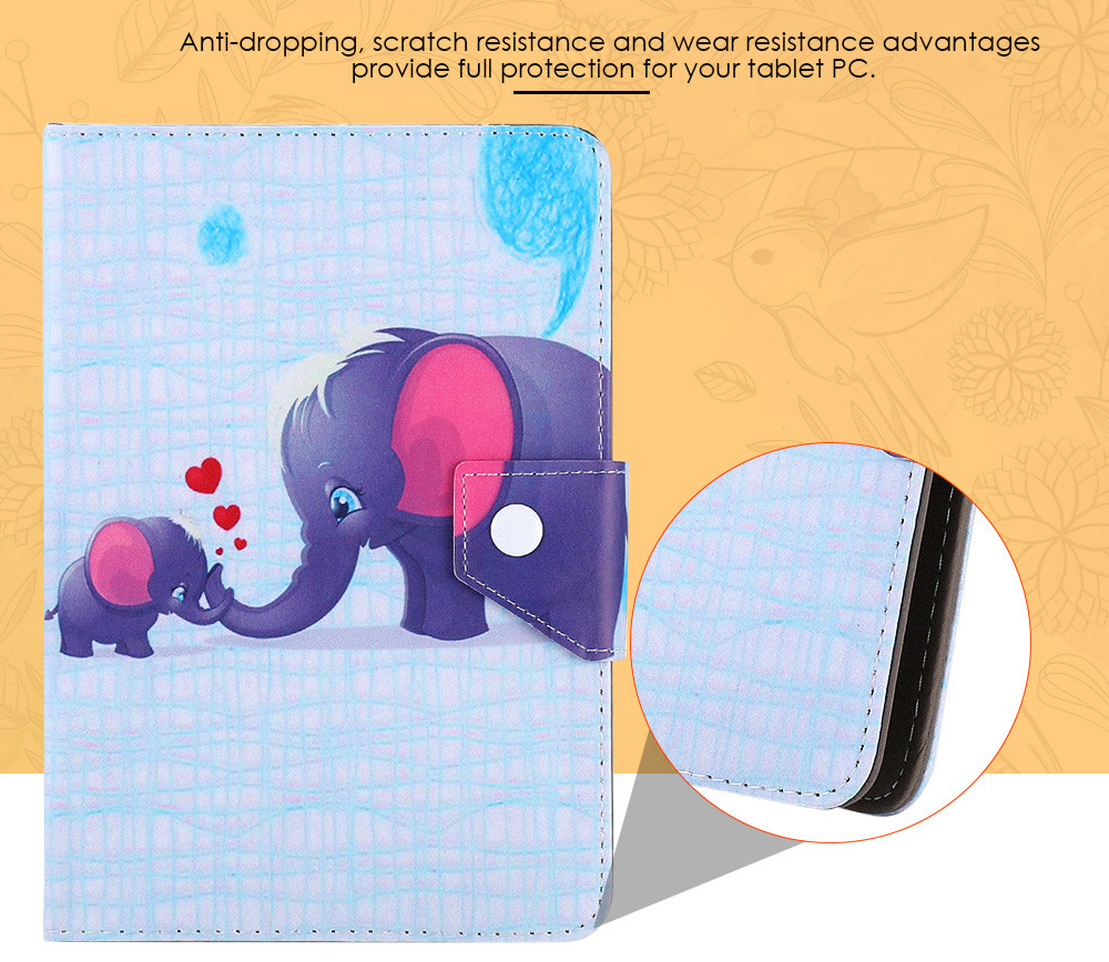 SZKINSTON Elephant Family Style Protective Case for 7 inch Tablet PC Full Body Folding Stand Design