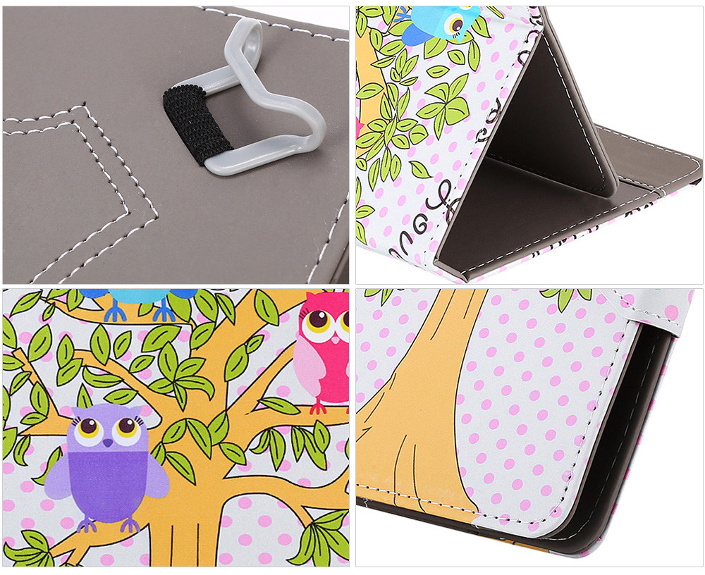 SZKINSTON Lovely Owl Style PU Leather Protective Case for 10 inch Tablet PC Full Body Folding Stand Design