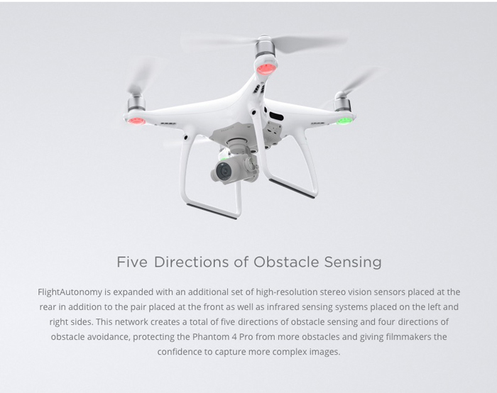 DJI Phantom 4 Pro RC Quadcopter RTF 5.8G FPV / 4K UHD / 2.4GHz 13CH 6-axis Gyro / 5 Directions of Obstacle Sensing / ActiveTrack / TapFly / Gesture Mode