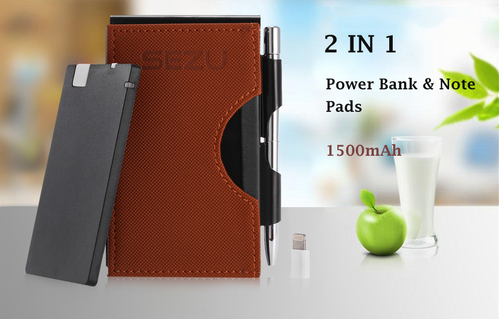 SEZU UW - E06 2 in 1 Note Pads 1500mAh Mobile Power Bank Net Pattern Leather Wrapping