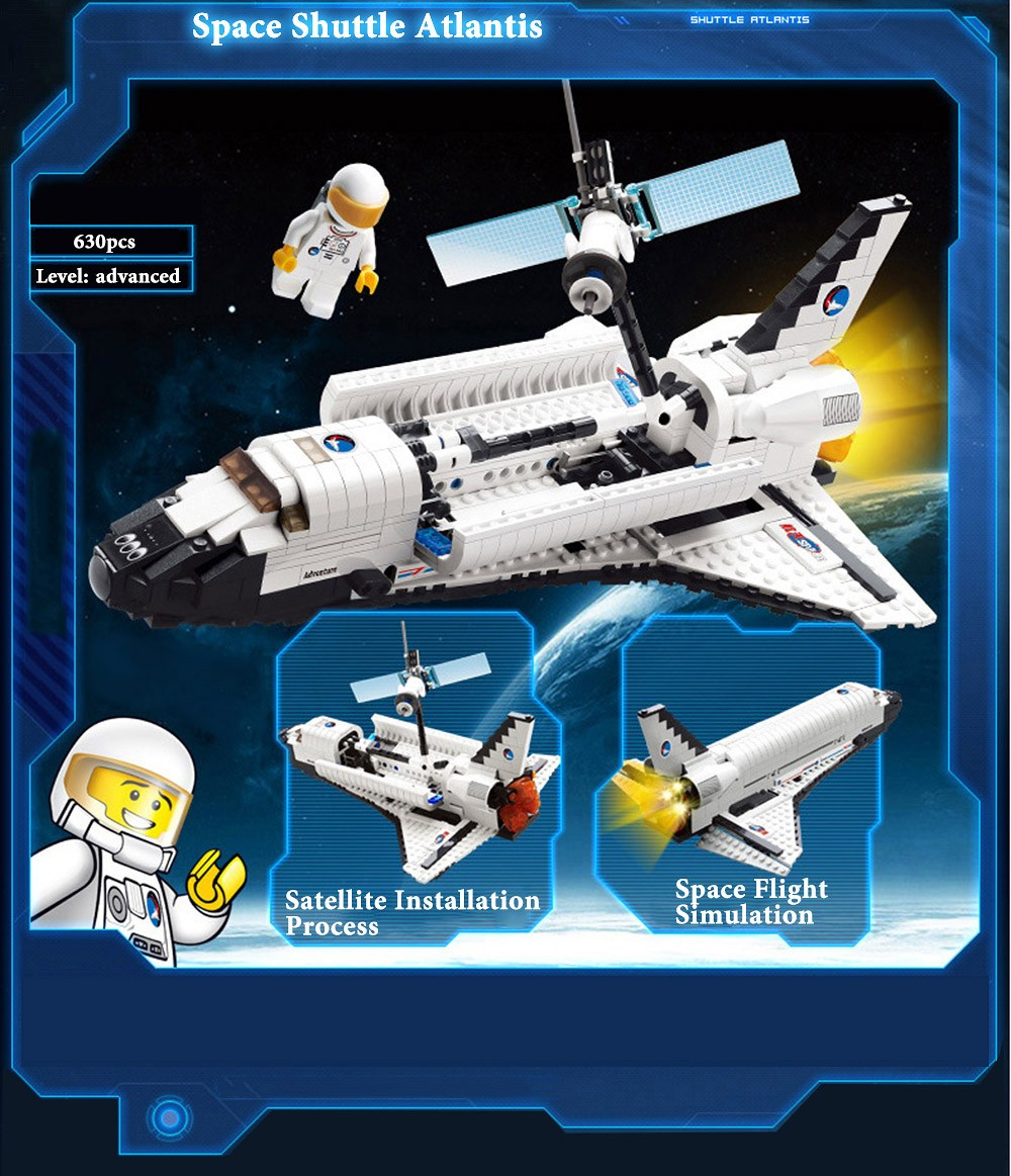 Spacecraft Atlantis Model Building Block 630pcs Advanced Level Intelligence Development Toy for Kids