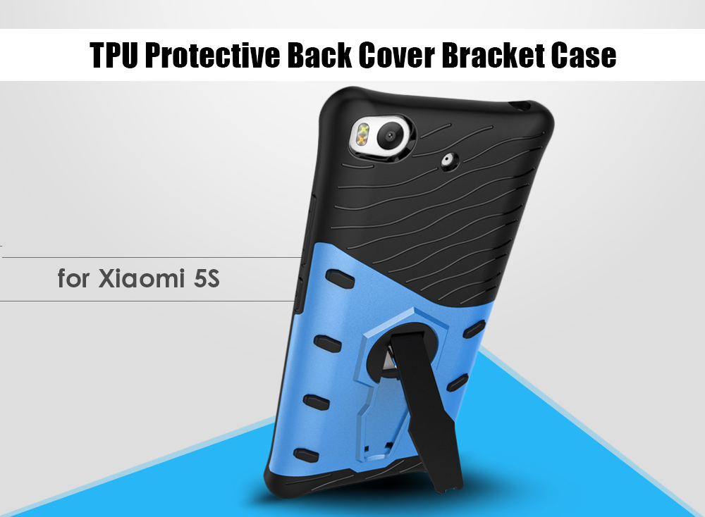 TPU Bumper PC Protective Back Cover Case for Xiaomi 5S with Phone Stand Holder