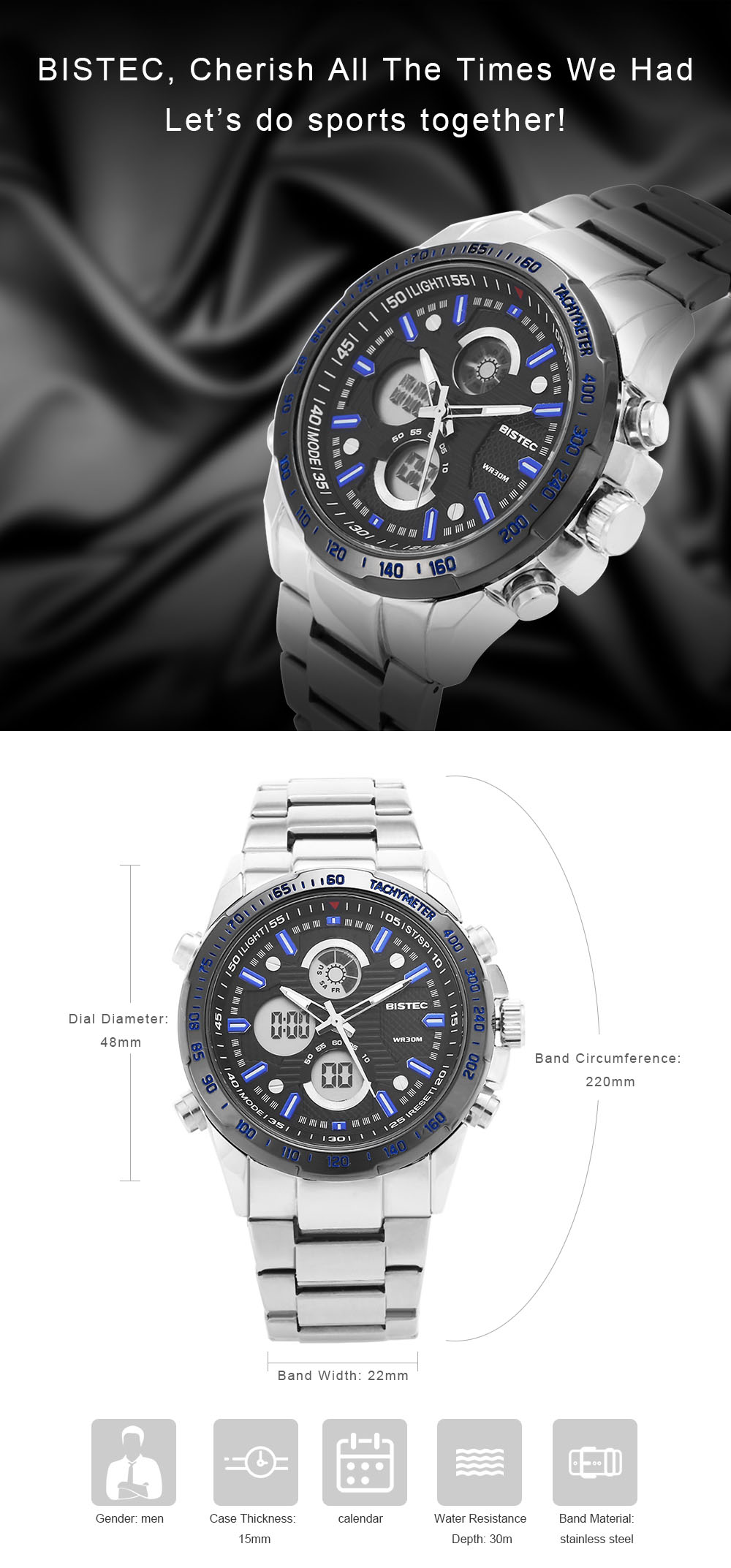 BISTEC 210 Men Dual Movt Watch Quartz LED Digital Chronograph Wristwatch