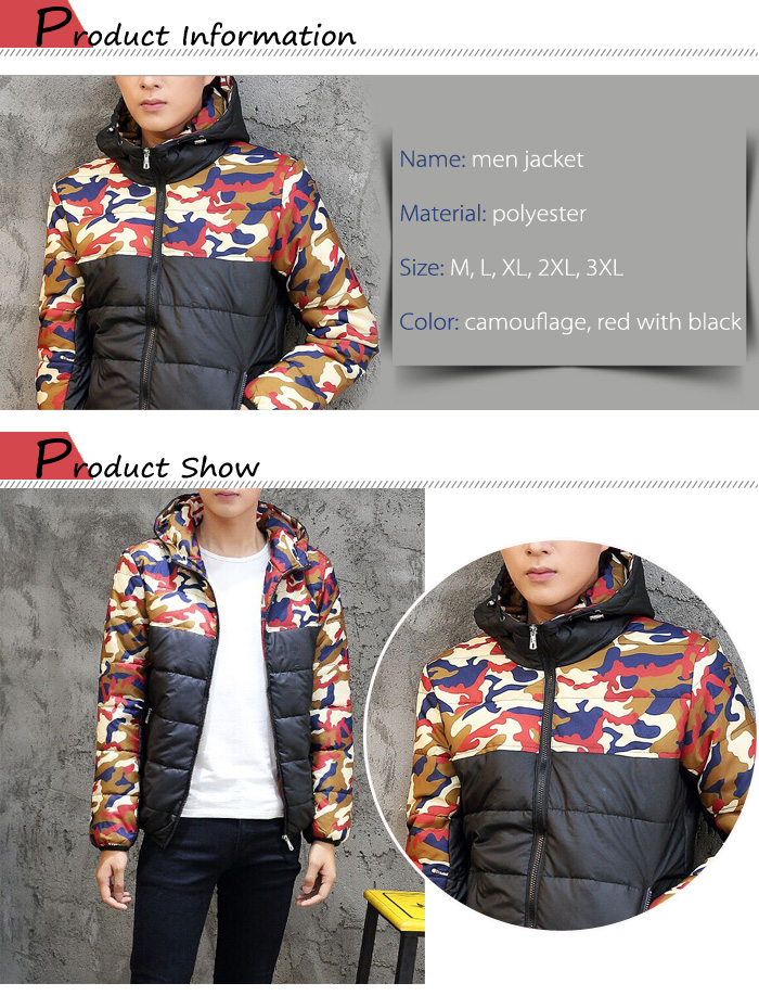 Men Color Block Camouflage Hooded Quilted Jacket Warm Winter Coat