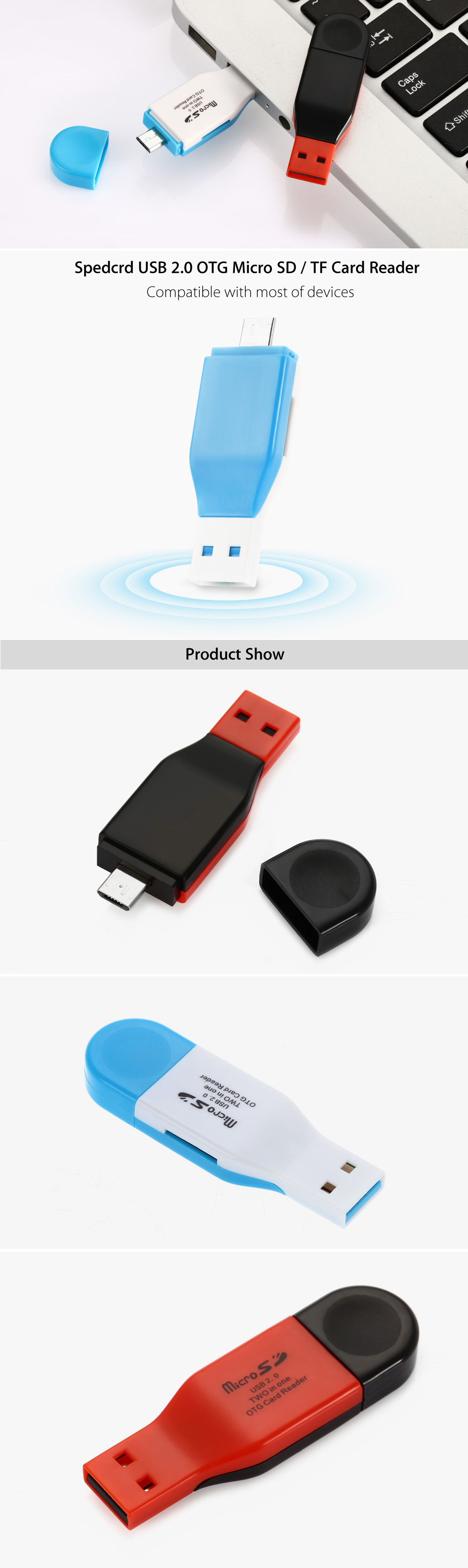 SpedCrd Multi-functional Micro USB to USB 2.0 Card Reader with TF Slot