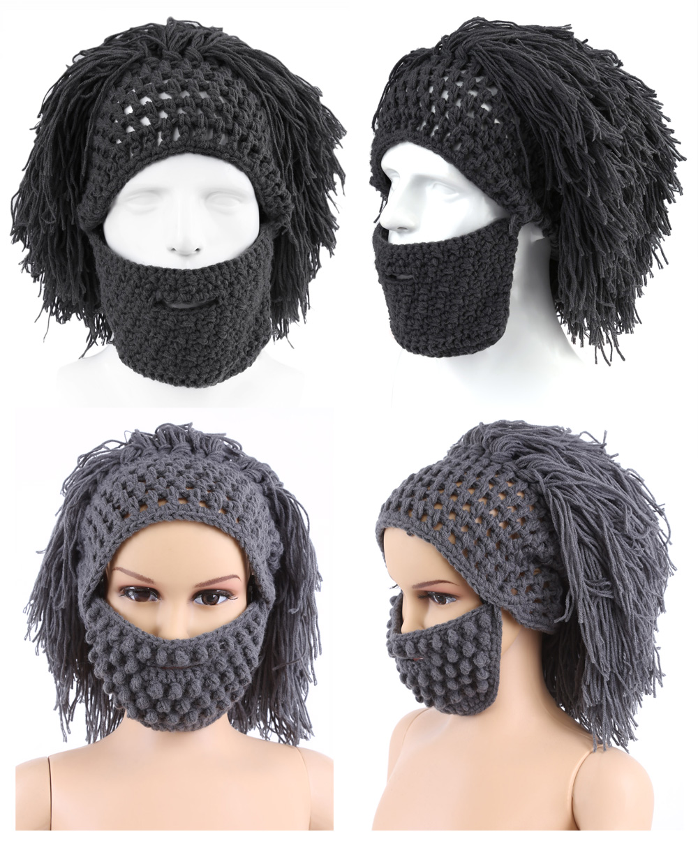 Christmas Halloween Woolen Wig Beard Hair Shape Knitted Hat for Father Son