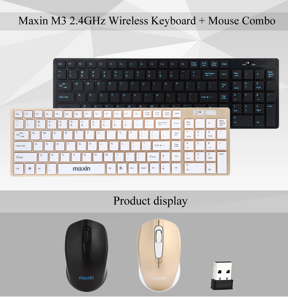 Maxin M3 Keyboard + Mouse 2.4GHz Wireless Desktop Suit