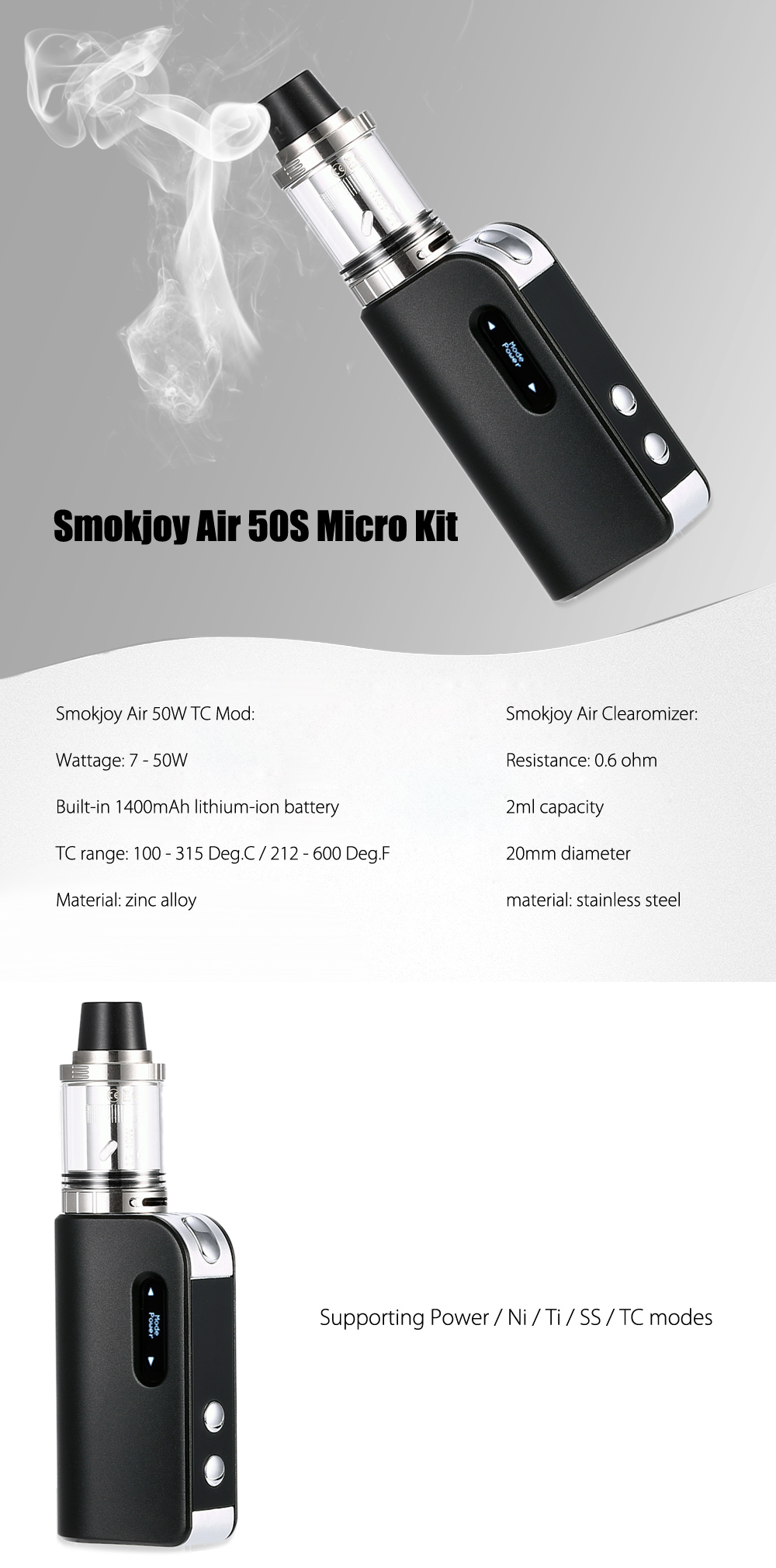 Original Smokjoy Air 50S Micro Kit with  7 - 50W / Built-in 1400mAh Battery / 100 - 315C / 212 - 600F / 0.6 ohm / Top Filling Clearomizer for E Cigarette