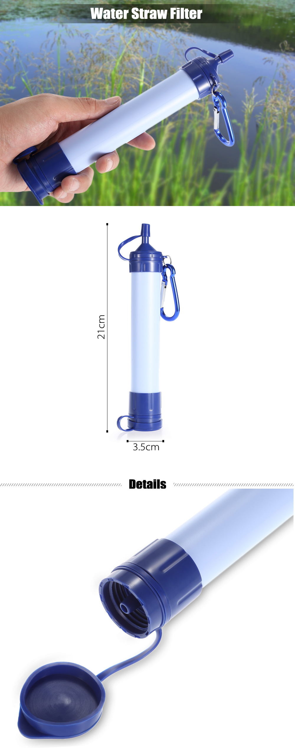 Portable Water Straw Filter Purification Tool with Hanging Buckle for Camping Survival