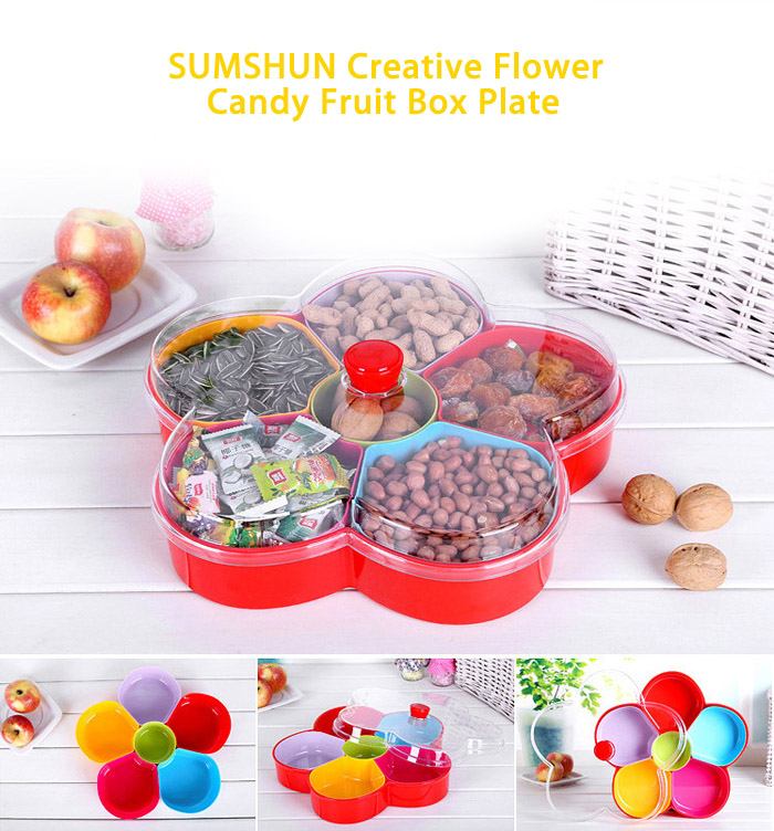 SUMSHUN Creative Flower Style Fruit Dessert Plate Candy Box Tray with Lid