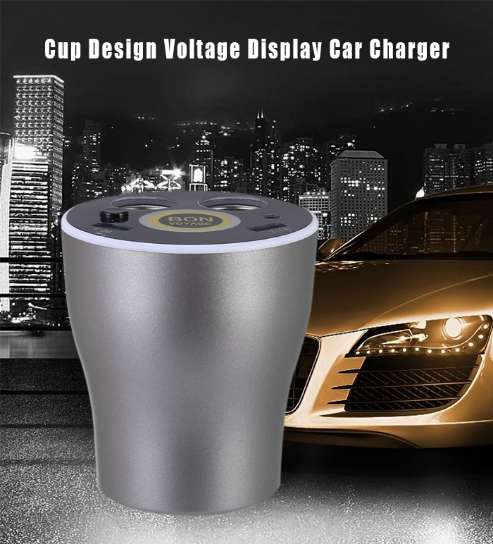 Voltage Display Intelligent Cup Car Charger with Double Cigar Lighters Dual USB Ports
